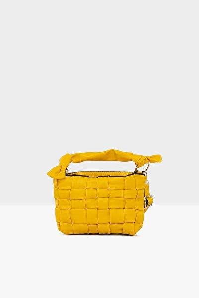 Bagmori Sarı Kadın Örgü Detaylı Mini Çanta M000004875