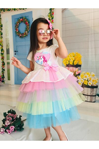 Mixie Kız Çocuk Renkli Unicorn Pul Payet Tokalı Elbisesi