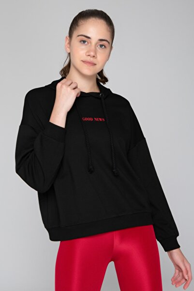 İzumi Sport Siyah Slogan Baskılı Sweatshirt