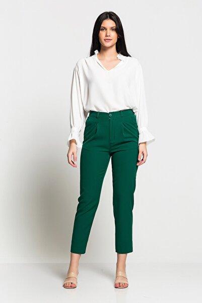 Kadın Yeşil Yüksek Bel Düğmeli Rahat Kesim Pantolon