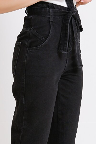 Yüksek Bel Jeans Siyah Beli Kuşaklı Denim Kot Mom 2072