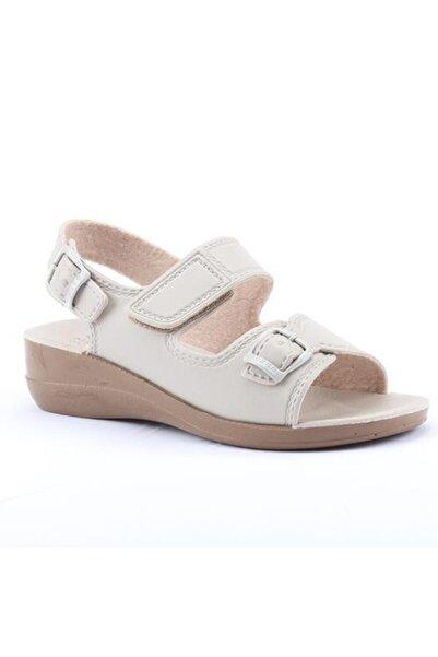 GEZER Kadın Krem Günlük Cırtlı Hac Umre Kadın Sandalet 4321