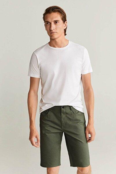 MANGO Man Erkek Haki Renk Cepli Pamuklu Bermuda Şort 77040503