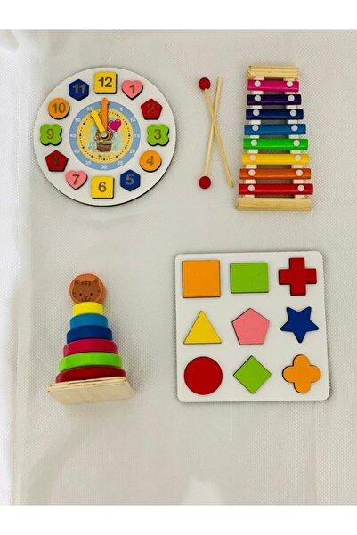 HAMAHA 4'in 1 Set Eğitici Ahşap Oyuncaklar Selefon Geometrik Saat Montessori Şekiller Halka Kule Oyunu