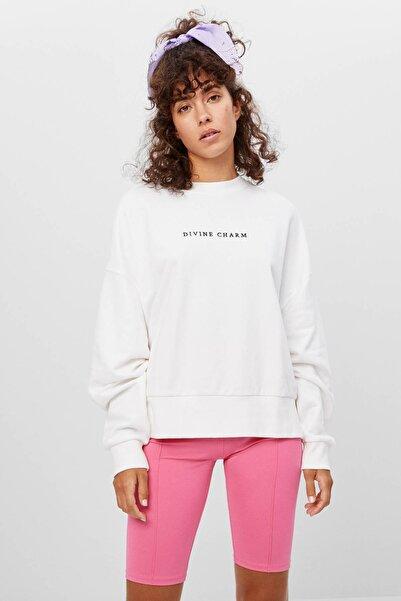 Bershka Işlemeli Baskılı Sweatshirt