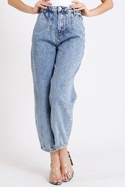 Yüksek Bel Jeans Balon Tipi Açık Mavi Yan Cep 2093