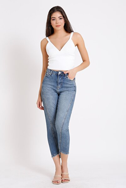 Yüksek Bel Denim Kot Mavi Mom Jeans 2084