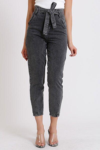 Yüksek Bel Jeans Siyah Beli Kuşaklı Denim Kot Gri Kar Yıkamalı Mom 2072
