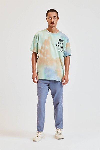 Pull & Bear Erkek Mavi Zincir Detaylı Keten Chino Pantolon 09678501