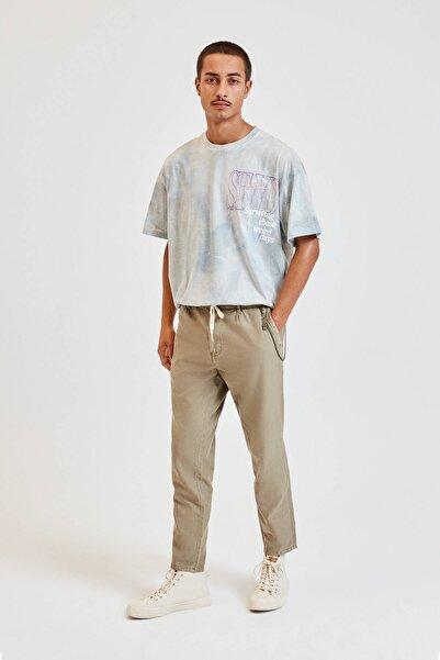 Pull & Bear Erkek Haki Zincir Detaylı Keten Chino Pantolon 09678501