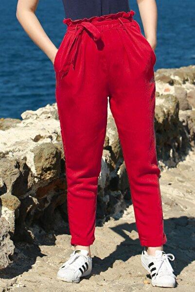 Madmext Kadın Kırmızı Kemerli Pantolon Mg621-2