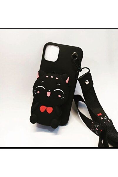 Iphone 11 Silikon Askılı Mini Cüzdanlı Kılıf