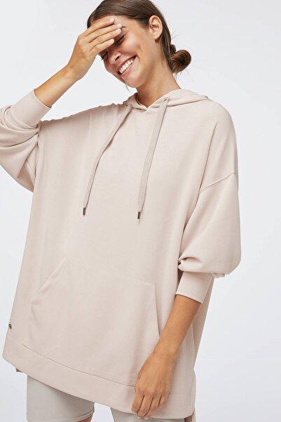 Oysho Kadın Açik Gri Yumuşak Dokulu Uzun Sweatshirt