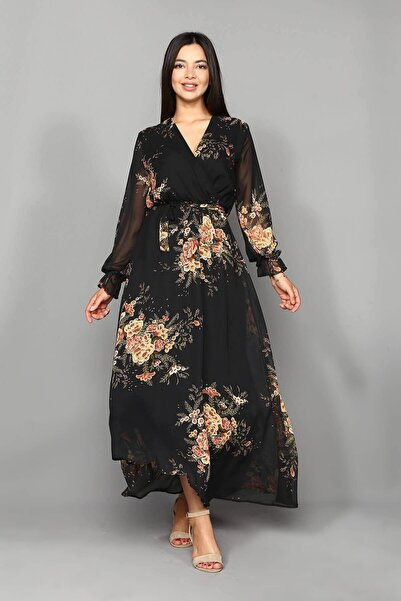 Siyah Çiçekli Şifon Uzun Elbise