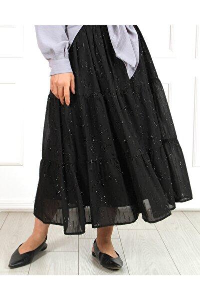 Kadın Siyah Simli Kat Kat Modelli Etek