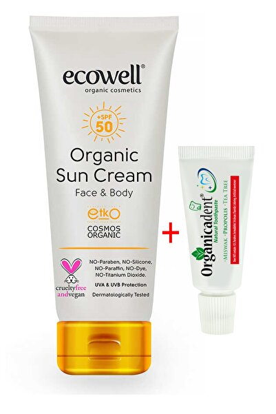 Yetişkin Ecowell Organik Güneş Kremi 110 gr ve Seyahat Boy 21 gr Diş Macunu