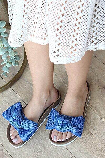 Pembe Potin Kadın Mavi Fiyonk Detaylı Sandalet