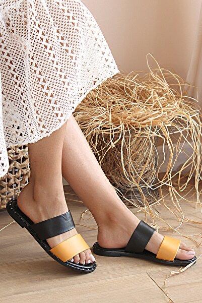 Pembe Potin Kadın Siyah Turuncu Bantlı Sandalet