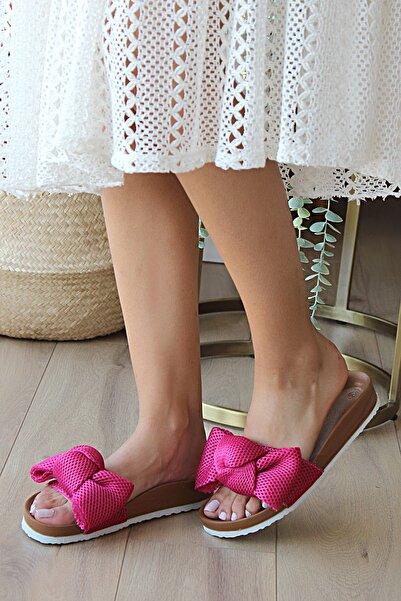 Pembe Potin Kadın Fuşya Suni Deri Sandalet