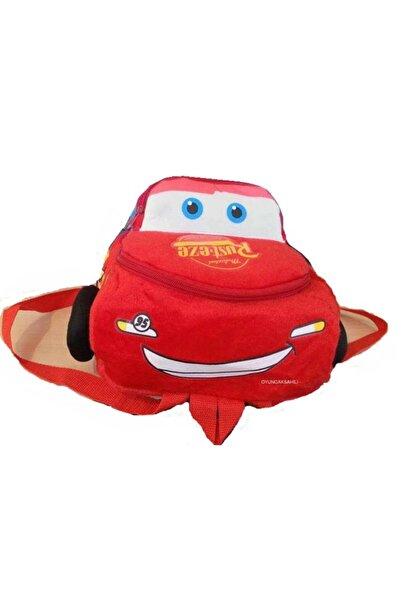 CARS Çocuk Çanta Arabalı Kadife Sırt Çantası 2 Gözlü