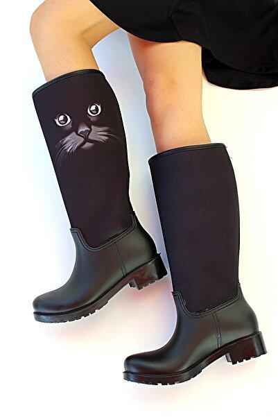 Pembe Potin Kadın Siyah Kedi Detaylı Çizme