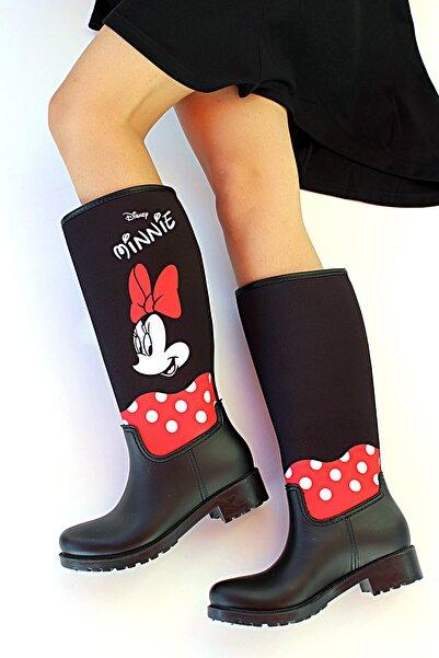 Pembe Potin Kadın Siyah Mickey Desenli Çizme