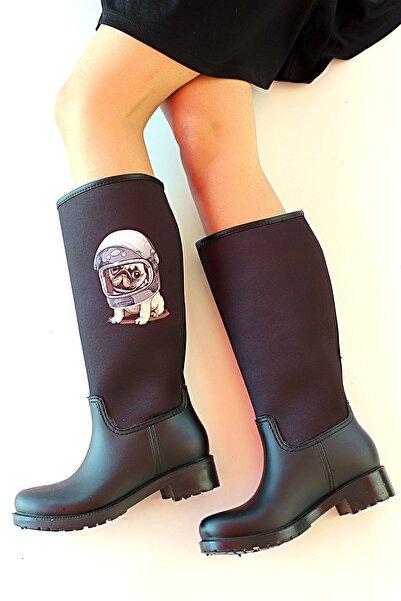 Pembe Potin Kadın Siyah Çizme