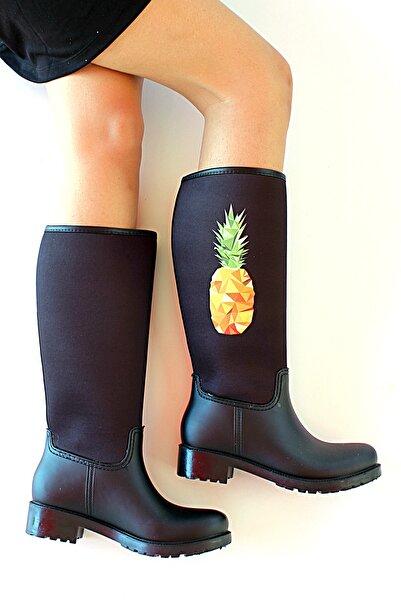 Pembe Potin Kadın Siyah Ananas Baskılı Çizme
