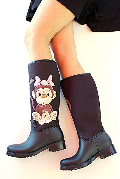 Pembe Potin Kadın Siyah Maymun Desenli Çizme