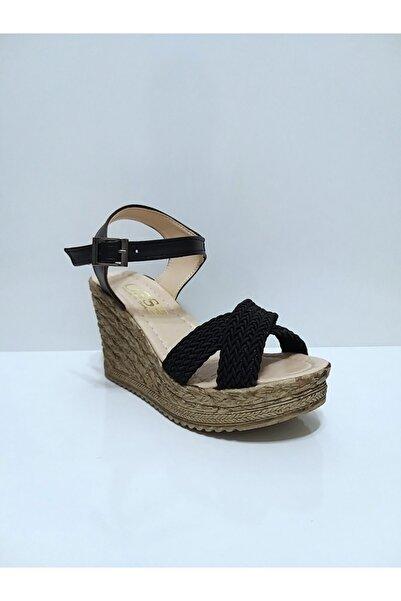 Osse Kadın Siyah Dolgu Ökçe Sandalet