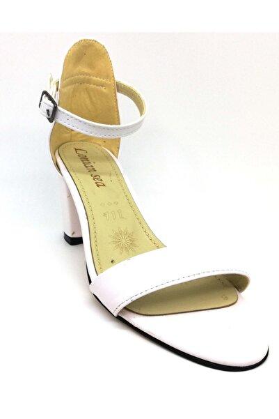 Lion Kadın Beyaz Tek Bant Yüksek Topuklu Ayakkabı