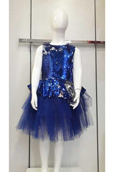 Bella Mavi Payetli Mezuniyet Elbisesi