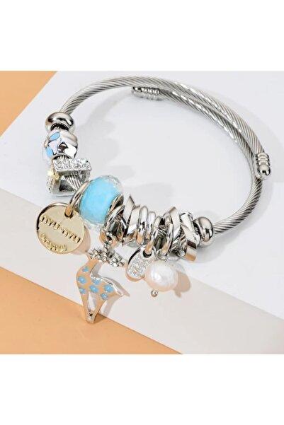 Pandora Kadın Çelik Geyik Charmlı Gümüş Tarzı Şık Bileklik