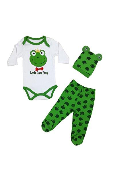 Miniworld Unisex Bebek Yeşil  Body Kurbağa Figürlü 3'lü Takım