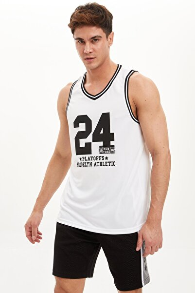 DeFacto Erkek Beyaz Baskılı Regualar Fit Sporcu Atlet R8123AZ20SM