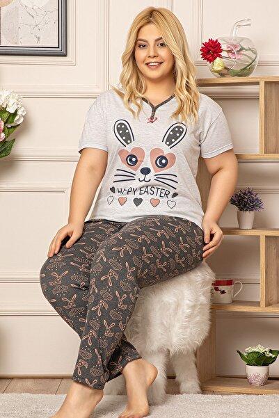 Kadın Gri Büyük Beden Kısa Kol Pijama Takım