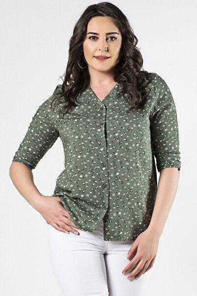 Womenice Büyük Beden Haki Çiçek Desenli Gömlek