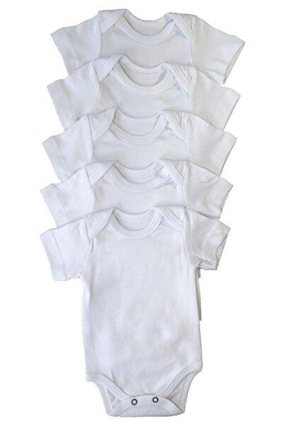 Çiçek Unisex Bebek Body Zıbın 5'li Çıtçıtlı Kısa Kol