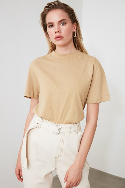 TRENDYOLMİLLA Camel ve Kiremit 2'li Paket Dik Yaka Basic Örme T-Shirt TWOAW21TS0121