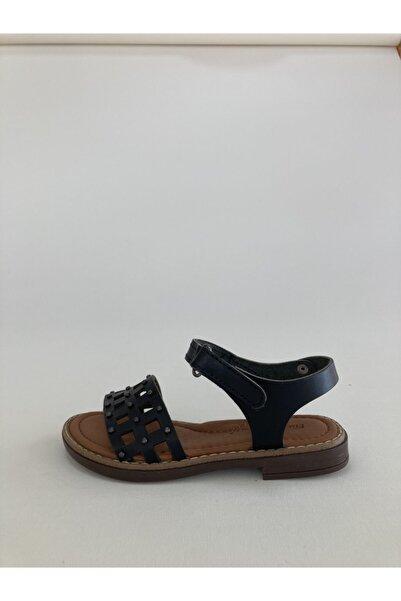 Bambino Hakiki Deri Troklu Siyah Kız Çocuk Sandaleti