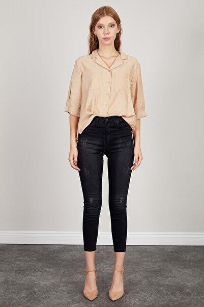 Manche Kadın Siyah Yüksek Bel Dar Paça Pantolon   Mk20s460014