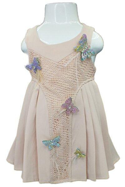 Flower Kız Çocuk Pembe Yan Pileli Elbise