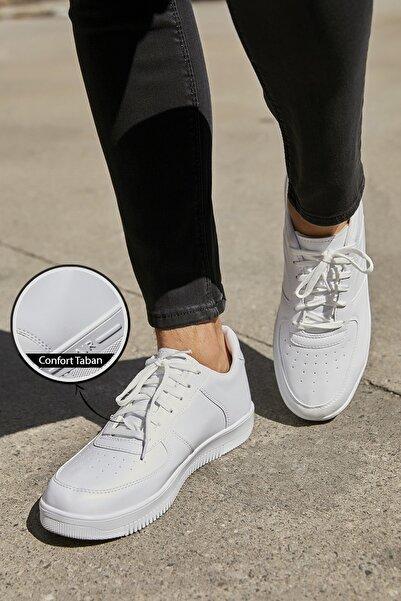 Sateen Men Erkek Beyaz Air Sneakers Ayakkabı