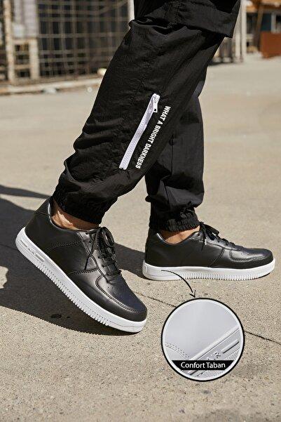Sateen Men Erkek Siyah-Beyaz Air Sneakers Ayakkabı