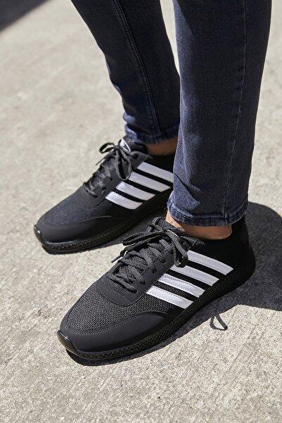 Sateen Men Erkek Siyah Şeritli Sneakers Ayakkabı