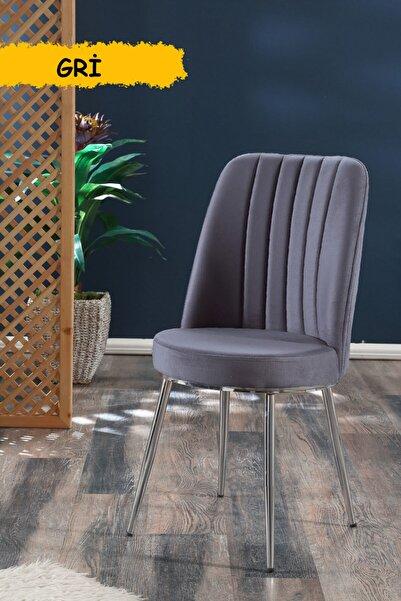 MYMASSA Gold Sandalye Gri - Metal Krom Kaplama Ayaklı