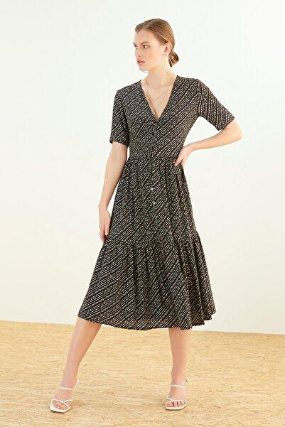 Kadın Multi Renk V Yaka Oversıze Midi Elbise 365549
