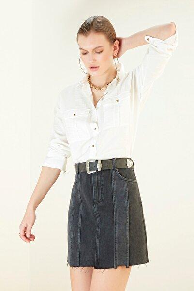 Mudo Kadın Beyaz Düğme Detaylı Oversize Gömlek 365538