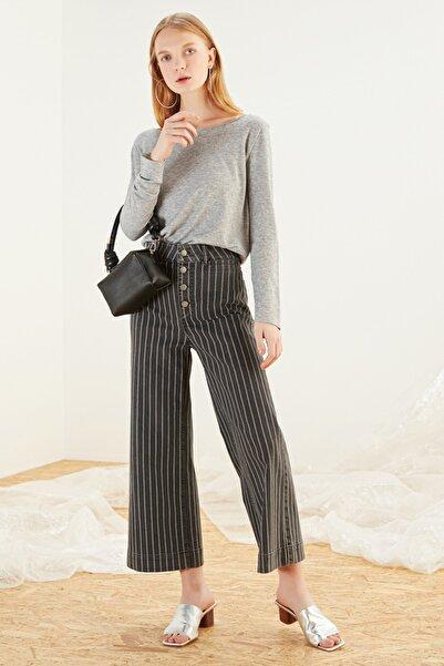 Mudo Kadın Antrasit Çizgili Cropped Flare Yüksek Bel Jean Pantolon 368263