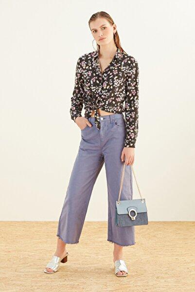 Mudo Kadın Koyu Mavi Yüksek Bel Cropped Flare Pantolon 367013